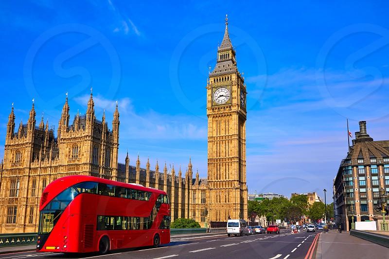Big Ben Clock Tower and London Bus at England photo