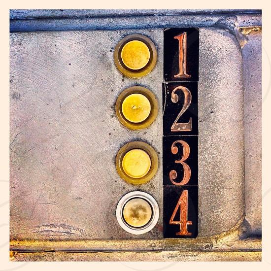 yellow round button 1 2 3 4 photo