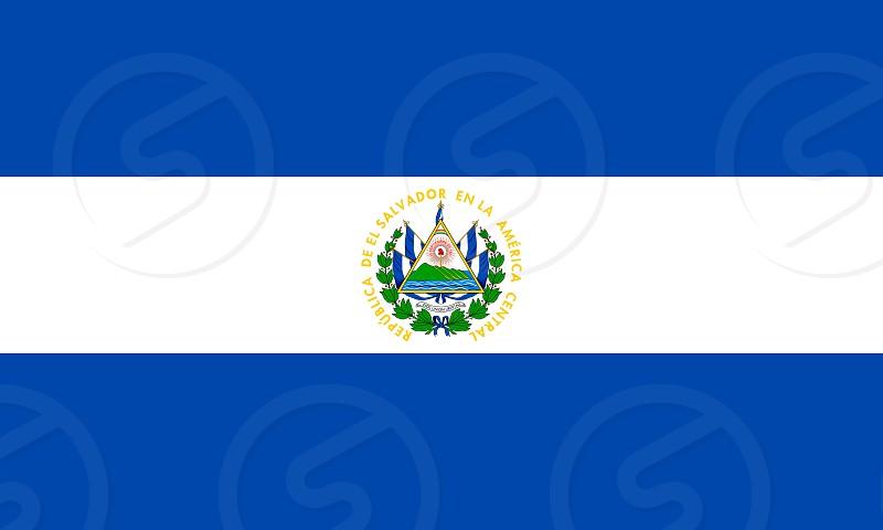 Official Large Flat Flag of El Salvador Horizontal photo