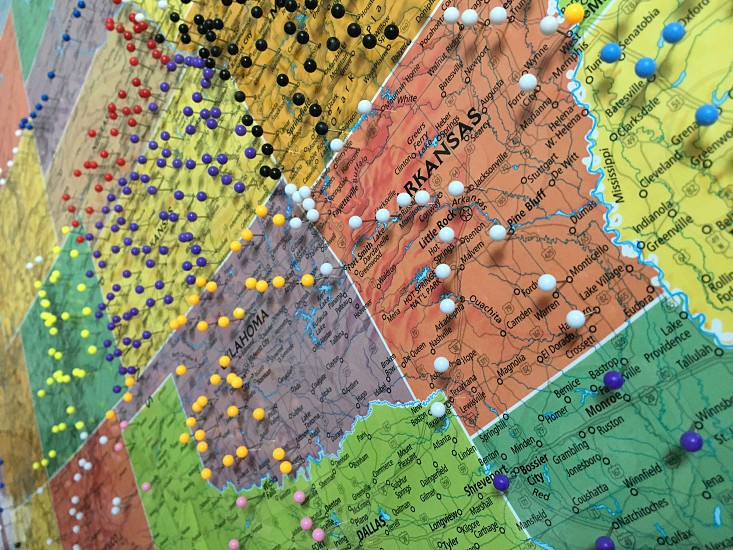Map United States pin mark section photo