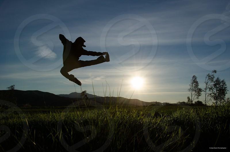 Fun sunrise silhouette active  photo