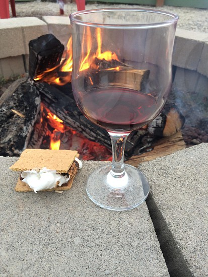 S'mores fire pit fire ring wine summer photo