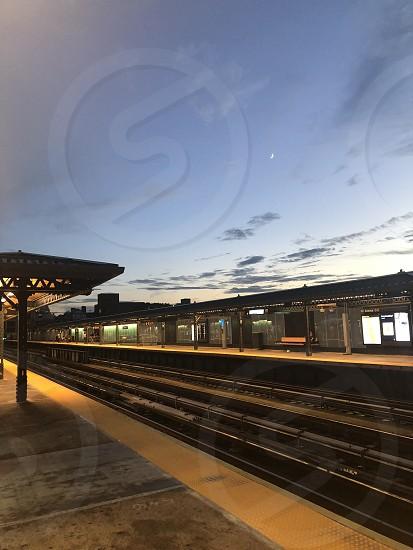 Sunset at subway station in NY photo