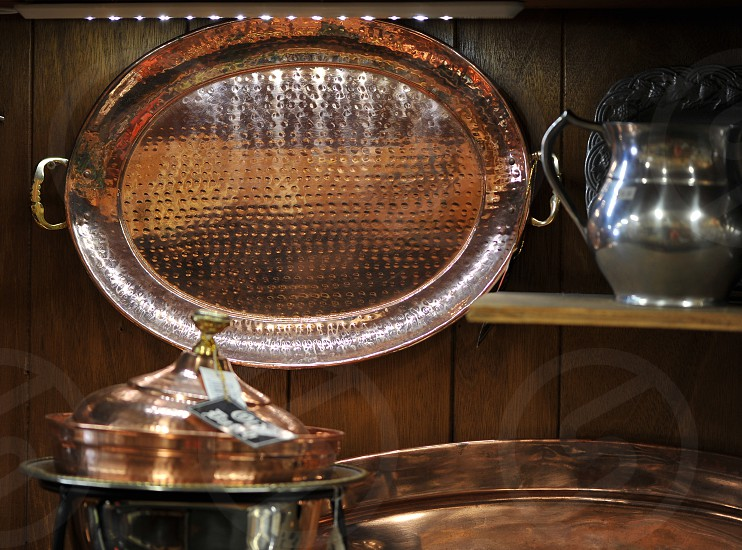Copper serving tray photo