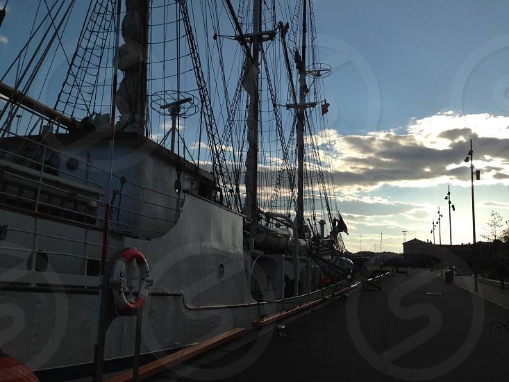 docked ship photo