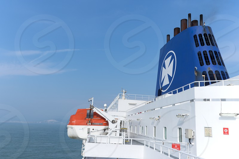 The upper deck of the ferry of DFDS Seaways. Dover cliffs in the background (Great Britain) photo