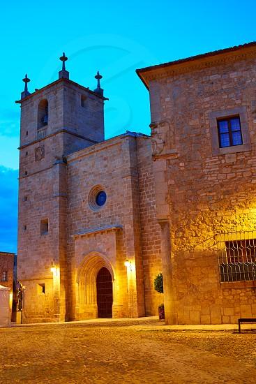 Caceres Concatedral Santa Maria church sunset in Spain Extremadura photo