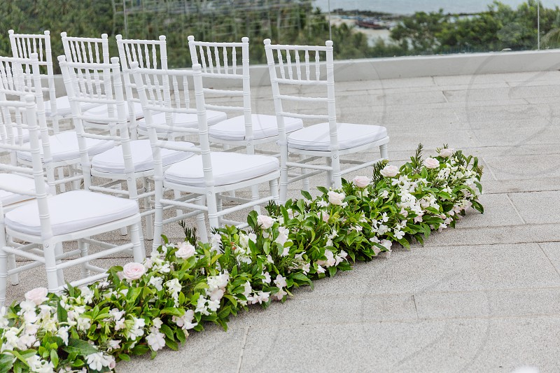 White and light pink roses flower with green leaves decoration on the aisle walk way beside the white chiavari chairs line up for modern destination wedding ceremony photo