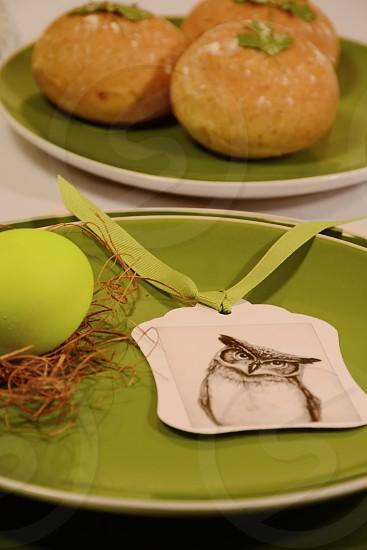 Easter Dinner Table Easter egg nest owl rolls cilantro photo