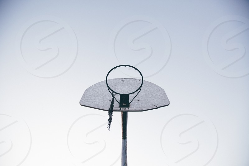 Basketball hoop old hoop chain net backboard hoop dreams retired baller rustic love and basketball worn photo
