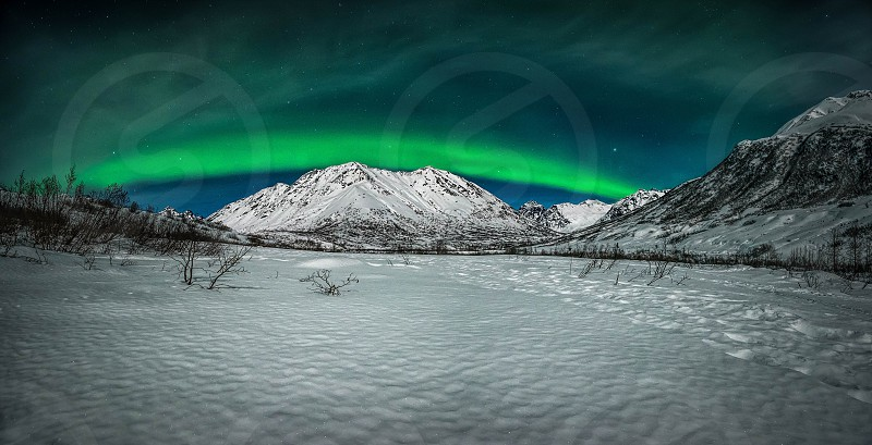 northern lights Hatcher's pass Alaska Palmer night moon mountain photo