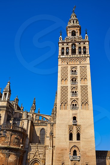Seville cathedral Giralda tower of Sevilla Andalusia Spain photo
