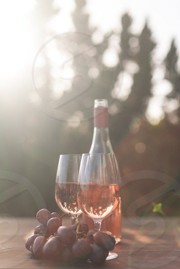 two wine glasses filled with rose wine next to the bottle and purple tables grapes surrounded by trees under the sun photo