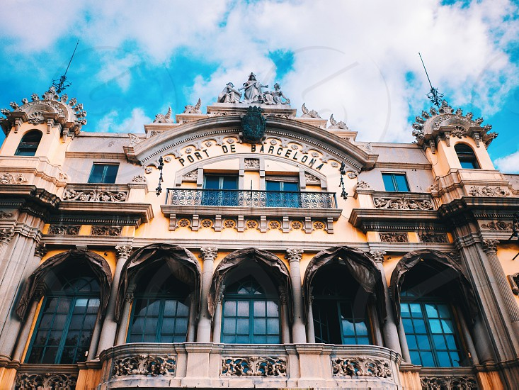 Port Authority Building Barcelona Spain. At one end of the La Rambla the building was built in 1903 and is considered an historical and artistic architectural monument in Barcelona. photo