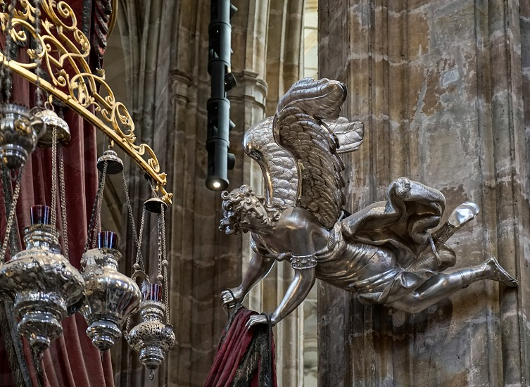 Detail of the Silver Tomb of St John of Nepomuk in St Vitus Cathedral photo