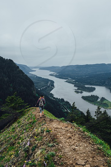 Munra Point Columbia River Gorge Oregon mountain trail ridge hike hiker pacific northwest woman river  photo