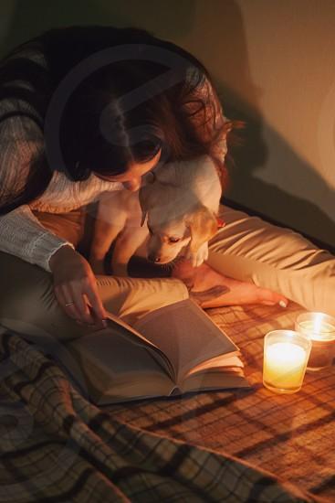 Labrador and girl reading book photo