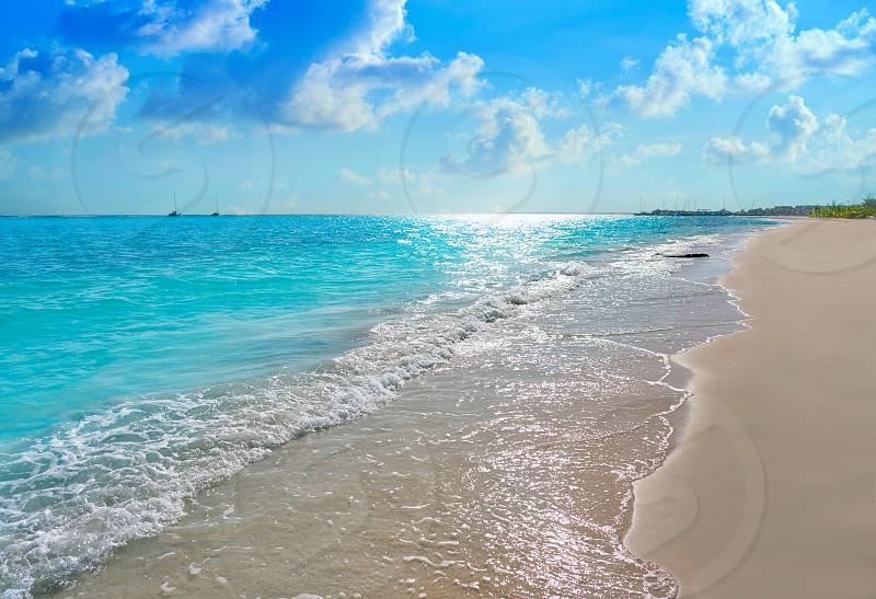 Riviera Maya Caribbean beach turquoise in Mayan Mexico photo