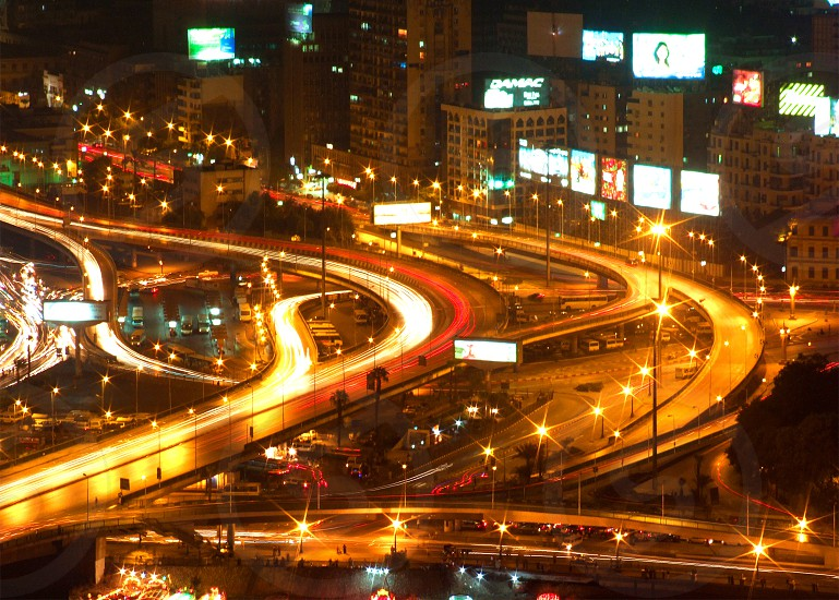 Long exposure of downtown from Cairo Tower Cairo Egypt photo
