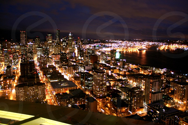 city night lights aerial view photography  photo