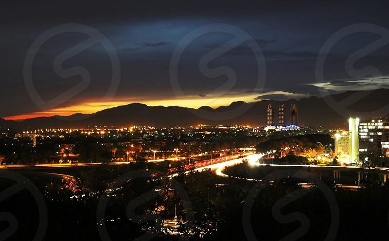 Pakistan's naturally enriched capital Islamabad at dusk. photo