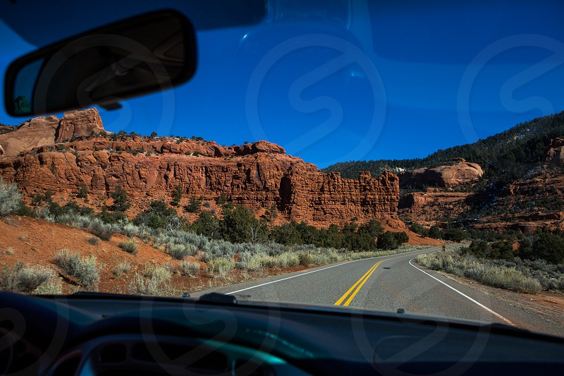 Road trip vacation driving out of canyon de chelly national park Arizona photo