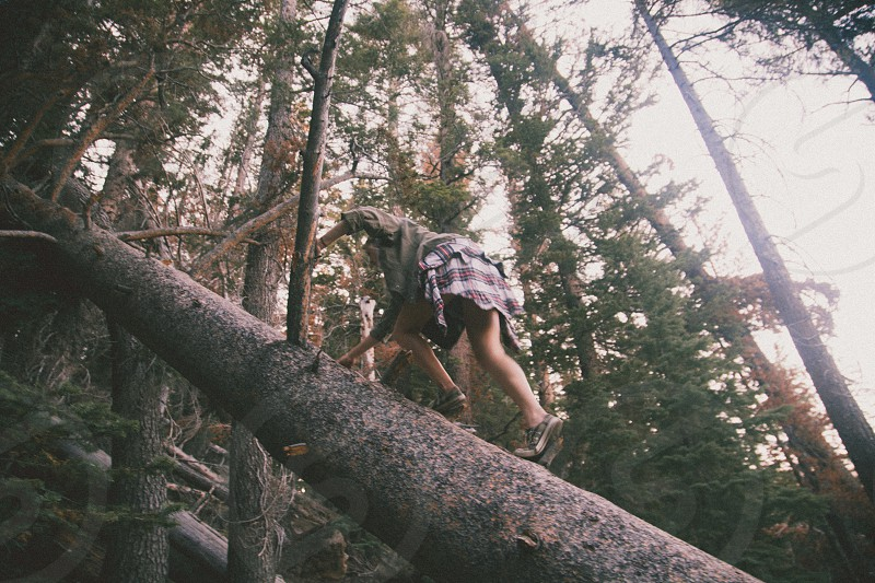 woman in grey shirt shorts and flannel shirt around waist climbing up side of fallen tree trunk on hillside under bright white sky photo