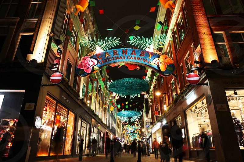 Carnaby Street Christmas decoration London. photo