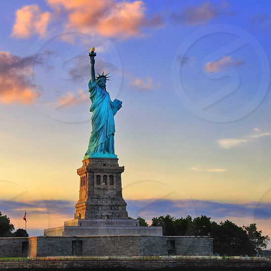 Sunset at the Statue of Liberty photo