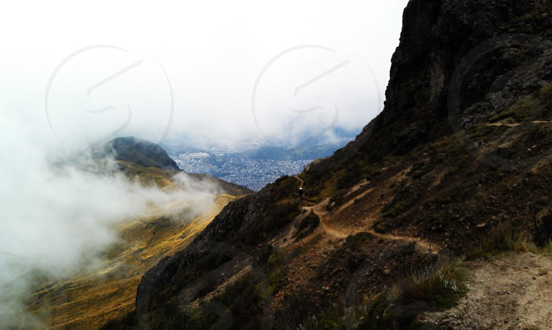 Low altitude hiking in Ecuador. Above clouds. photo