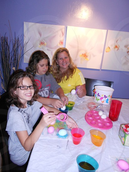 Painting eggs in Easter. photo