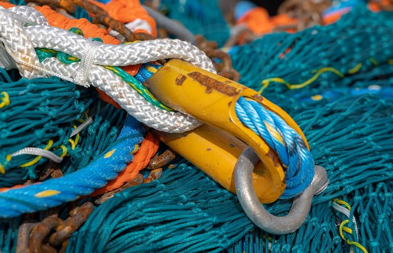 LERICI LIGURIA/ITALY  - APRIL 21 : Fishing nets and rope in the harbour in Lerici Liguria Italy on April 21 2019 photo