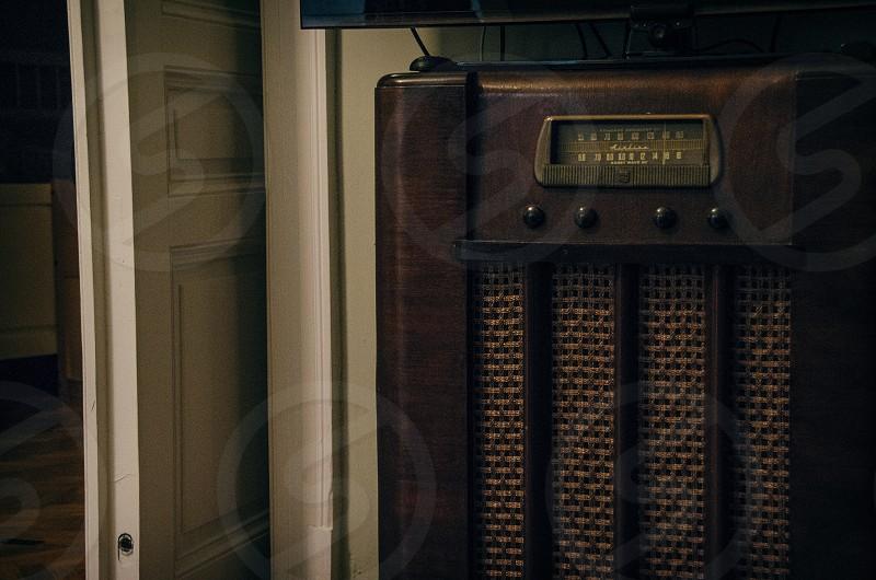 A vintage radio console. photo