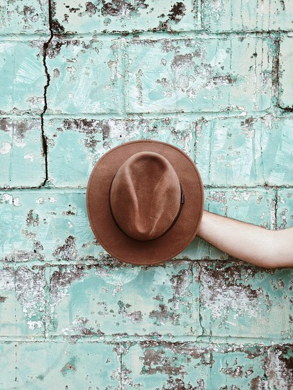 person holding a brown fedora hat photo