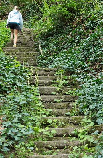 woman walking on green stairs photo