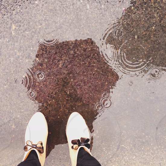 person standing on water puddle photo