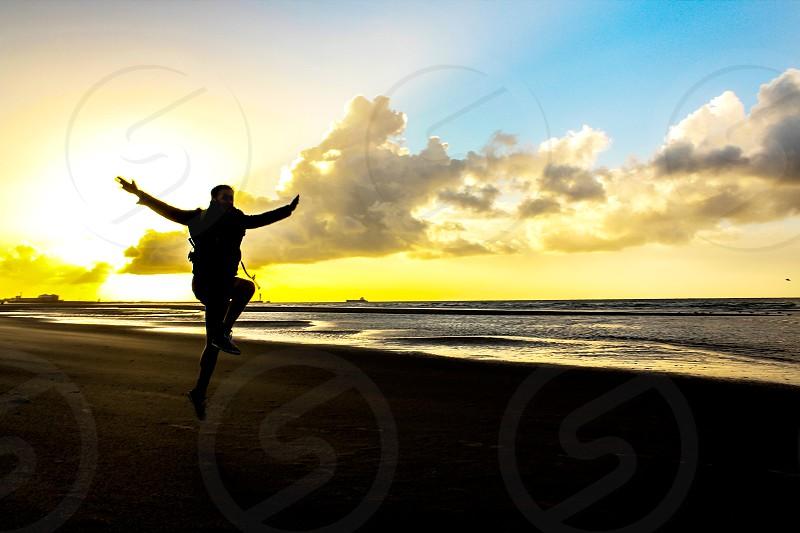 Sunset jump-France photo