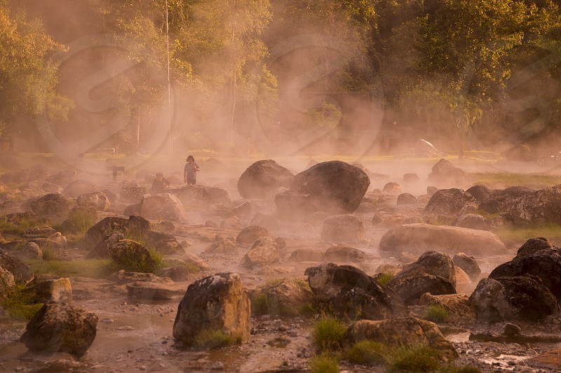the hot springs in the nationalpark of Chae Son or Jaesorn north of the city of Lampang in North Thailand. photo