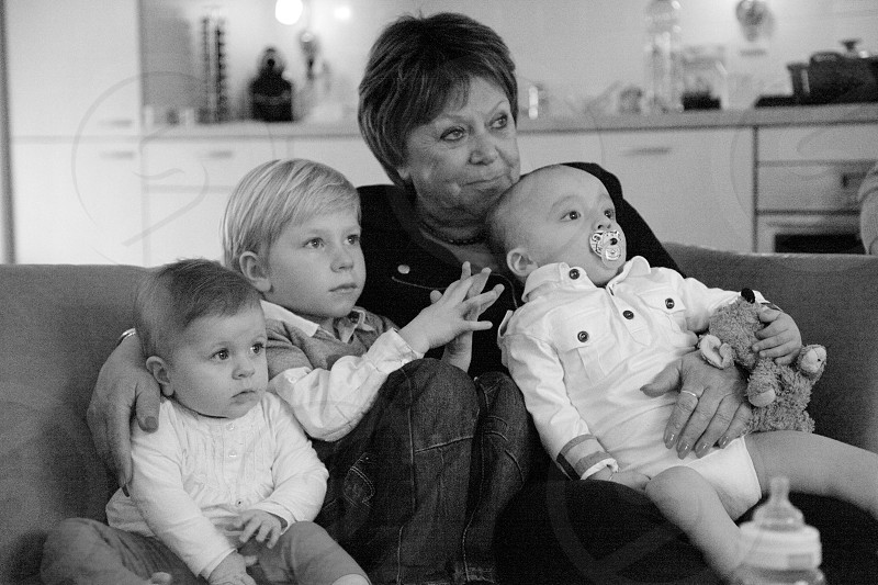 family grandma grandchildren black and white photo