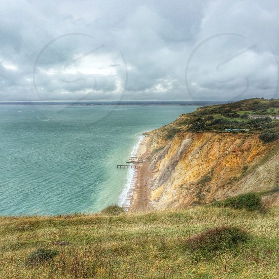 Alum bay Isle of Wight sea landscape sky photo