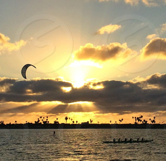 Kite surfing and outrigger canoeing Mission Bay San Diego photo