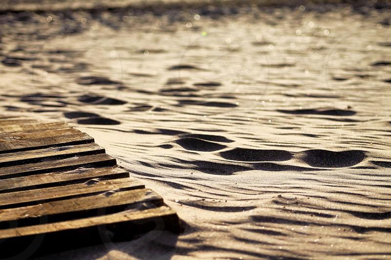 Beach boardwalksandglisteningwoodpath photo