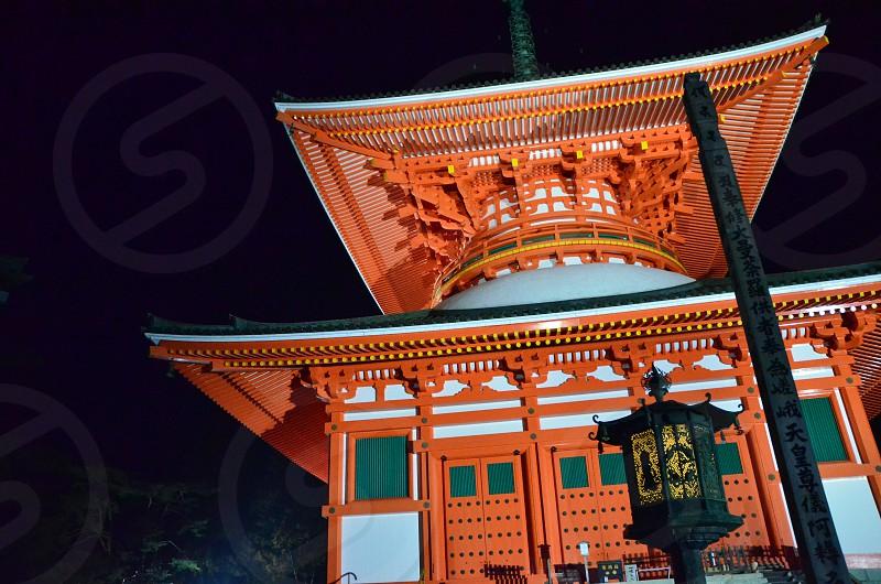 根本大塔、夜間照明、弘法大師、和歌山県 高野山 photo