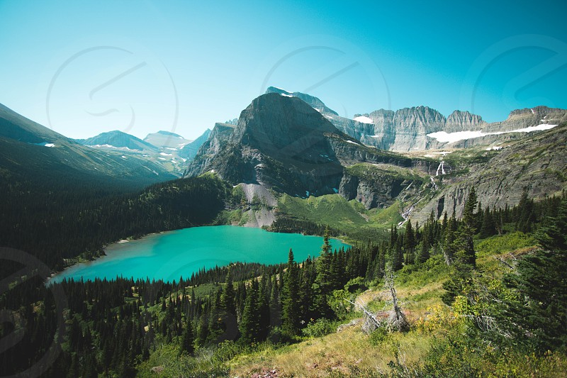 Grinnell lake many glacier Montana  photo