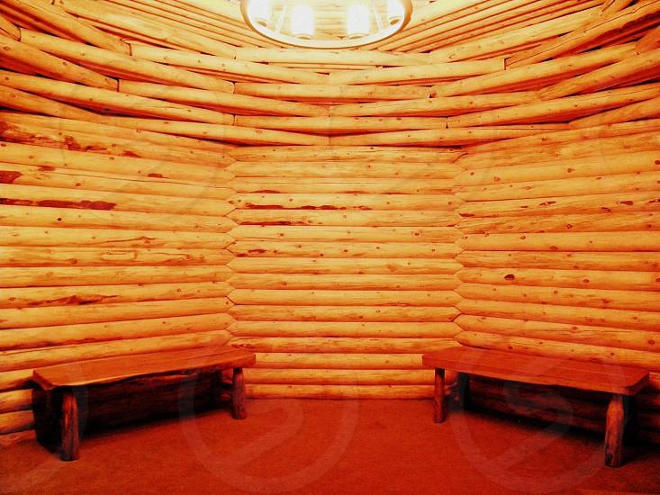 Inside an Indian or Native American sweatlodge photo