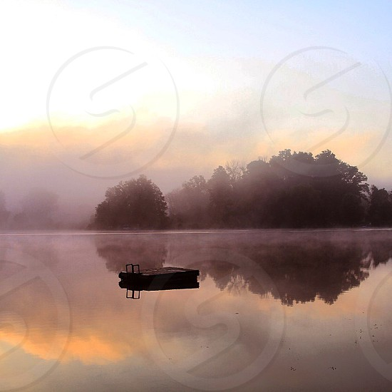 Beautiful silent lake. Lake quietsunrise colorfulmuted  photo