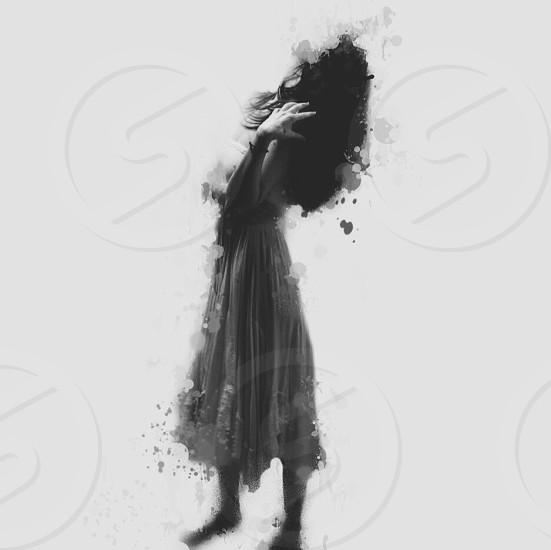 illustration of woman wearing calf length grey dress photo