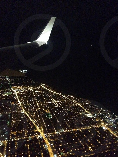 Chicago and flying over Lake Michigan  photo