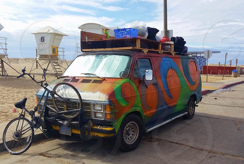 hippy surfer van by the beach photo