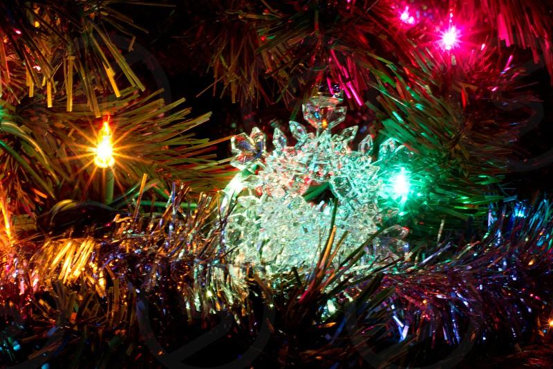 silver pink and yellow christmas decor photo